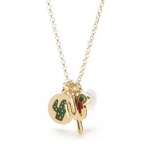Crown & Ivy Cactus Charm Pendent Necklace NWT Gold
